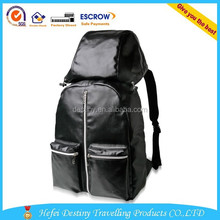 Lastest high quality many pockets brown and black leather backpack with hat