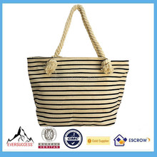 Hot Sale Canvas Rope Handle Beach Bag Stripe Wholesale Bag For Women