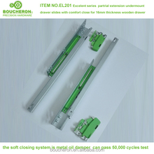 High quality single extension undermount drawer slide with soft close and loacking device,auto close drawer slide