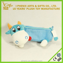 Promotional Custom Lovely Cow Plush Animal Pencil Case