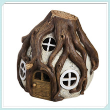 Forest solar lighted miniature fairy house