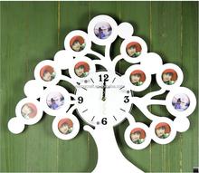 Beautiful Home Decoration Plastic Tree Clock Wall Hanging Family Tree Photo Frame