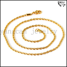 Fashion jewelry 2.6/4mm 18k gold plated twist men chain necklace