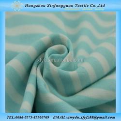 Blue and white stripe cotton spandex fabric