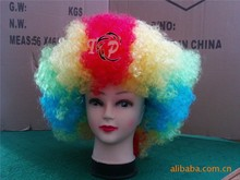 2015 Hot Sell Football Funny Wig Clowns Colorful Soccer Fans Wig Party Fancy Dress Hair Wig