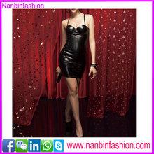 Black two strapes xxxl sexy leather corset for women corset dress