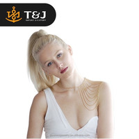 2015 fashion Charm jewelry Gold plated Tassels Link Body Shoulder Chain alloy body chain for women Bib necklaces Sex Body Chain