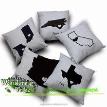 Black& white Decorative Pillow covers world map couch pillows Cushion Cover stylish creative Burlap Cushion Cover