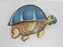 Turtle Pin Badge Enamel 3D Effect Cartoon Style Gold Tone Metal Wildlife Nature