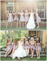 BO2090 Wholesale-Strapless Short Mini Satin Ruffle Lovely Bridesmaid Dresses
