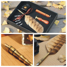 Factory Supply owl feather pen &wax seal stamper &free nibs
