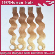 Ally express finest quality wholesale price no shedding 5A grade european hair tape in hair extensions
