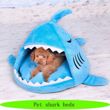 Pet shark shaped bed, funny plush dog bed