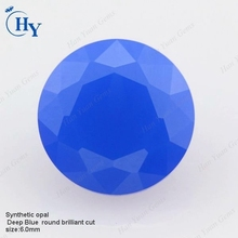 Wuzhou diamond cut round opal blue nano gemstones
