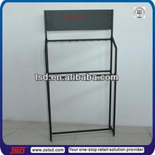 TSD-M025 China factory custom free standing black metal hanging shelf/car accessories display rack/metal exhibition shelf