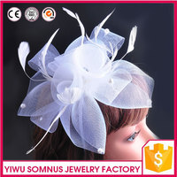 net surface bridal hair pins white feather french Barrettes acrylic beads wedding hair accessory A028