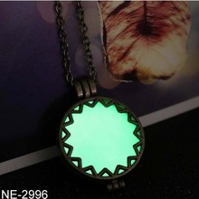 Alloy luminous light emitting hollow pendant necklace