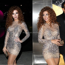 High Quality 2015 Myriam Fares Dresses See Through Celebrity Dresses High Neck Beaded Crystal Short Cocktail Dress F&MG30