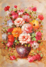 Online Framed Art Glass Painting Designs of Flowers Impression