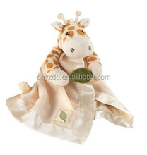 Giraffe Plush Rattle Lovie with Crinkle Leaf/Giraffe Security Blanket/Stuffed Animal Baby Blanket