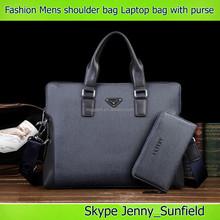 2015 fashion men shoulder bag pu business laptop messenger bag