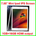 7.85 de acción pulgadas quad core tablet pc con el original de ipad mini pantalla ips 1280*800 1g+16g