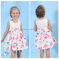 ROSE PRINT SLEEVELESS TOP girl dress emerald flower girl dress birthday dress for children