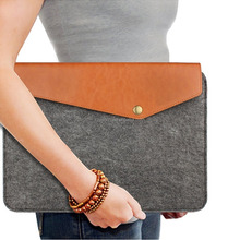 Notebook Felt & Leather Laptop Case sleeve With adaptor case for 13'' 13.3'' 14 inch Macbook