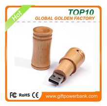 bulk buy best factory price cylinder shape wooden usb flash drive with key chain