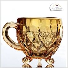 Machine made glass cup manufacturer glass coffee cup with golden print