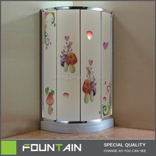 Colorful Painting on Tempered Glass Standing Newest Completed Shower Enclosure