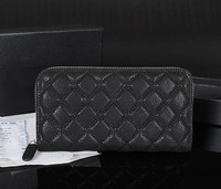 top quality quilted lambskin famous brand designs genuine leather women zipper wallet