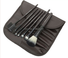 New With Button 7Pcs in Leather Bag Cosmetic Brush Sets Portable Travel Kit