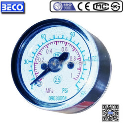 Back mounting Y-25 small Bourdon tube pressure indicator for air compressor