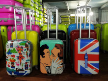 big brand high quality pc material suitcase luggage trolley case with printing film cover
