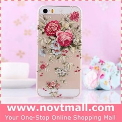 2015 Special Clear Cover Case For Apple Iphone 5s, For Iphone 5 Cover Case With Rose Flower
