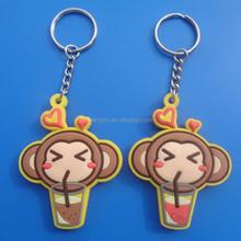 monkey so cute soft pvc key chain, die cut keyring/ key charm for 2015 women/girls