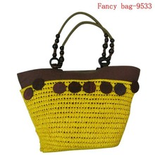Delicate eco paper wheat bag beach bag yellow
