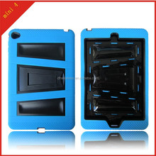 v kickstand case for Apple iPad mini 4 protector cover, pc silicone cover for ipad mini 4
