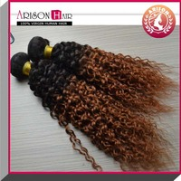 Afro kinky curly 100% Peruvian cheap ombre human remy hair extension #1b/33 ombre bundles hair weave