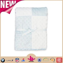 Four pieces micro plush fabric put together with solid satin fabric in reverse new design of baby blanket soft baby products