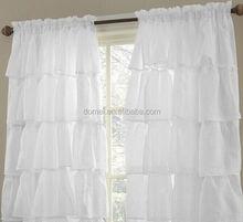 100% Polyester Bathroom Fabric Ruffle Shower Curtain