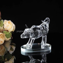 crystal glass buffalo figurine for home decoration crystal glass buffalo figurines for business gifts