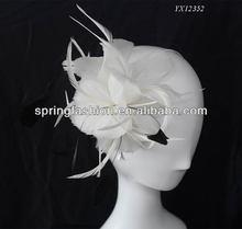 Fashion white feather fascinator on metal headband