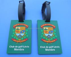 golf club customized design pvc plastic luggage tags