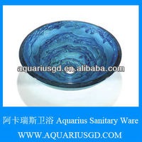 Foshan Aquarius 2013 New Ocean Blue Tempered Glass Sink For Bathroom