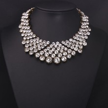 2015 New Collection Full Rhinestone Clear Bib Necklace