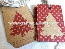 2015 merry Christmas handmade Country red brown kraft paper Christmas tags polka dots for gifts