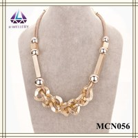 New Design Cuboid Metal Bar Gold Plated Fashion Necklace