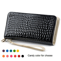 Fashion Candy Color Crocodile Long Clutch Purse Leather Card Holder Crocodile Wallet with Coin Slot